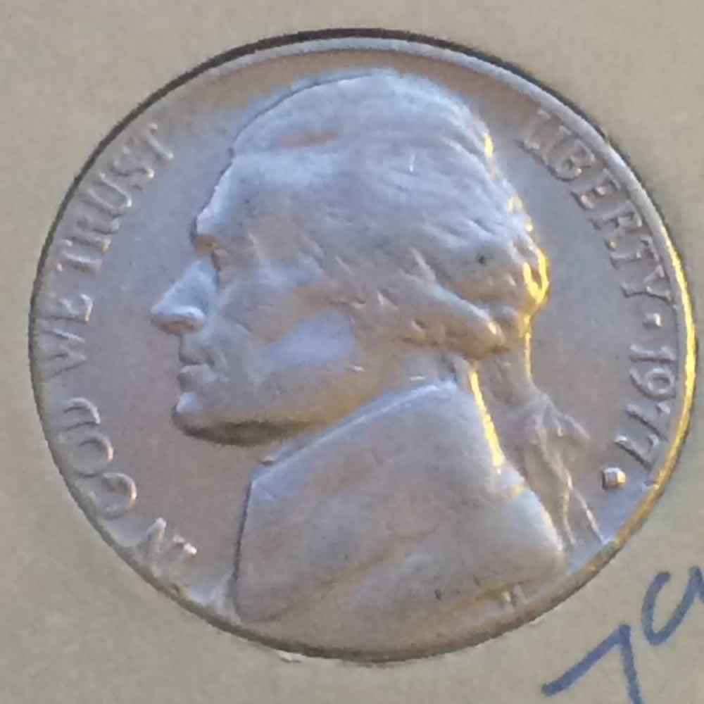 US 1977 D Jefferson Nickel ( 5C ) - Obverse