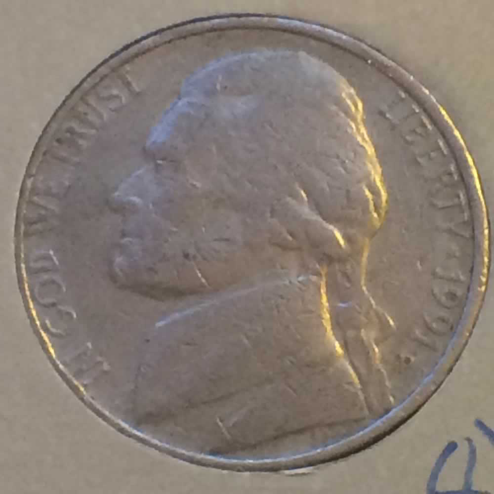 US 1991 D Jefferson Nickel ( 5C ) - Obverse
