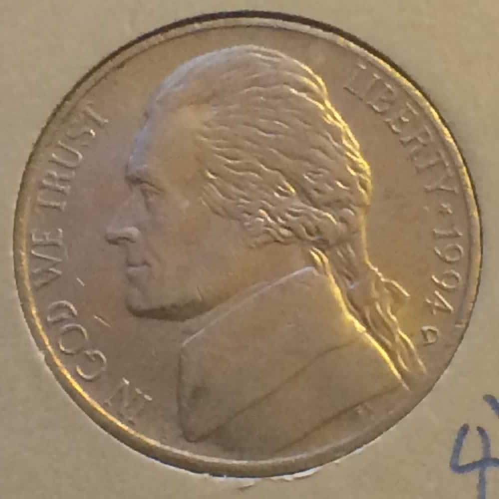 US 1994 D Jefferson Nickel ( 5C ) - Obverse