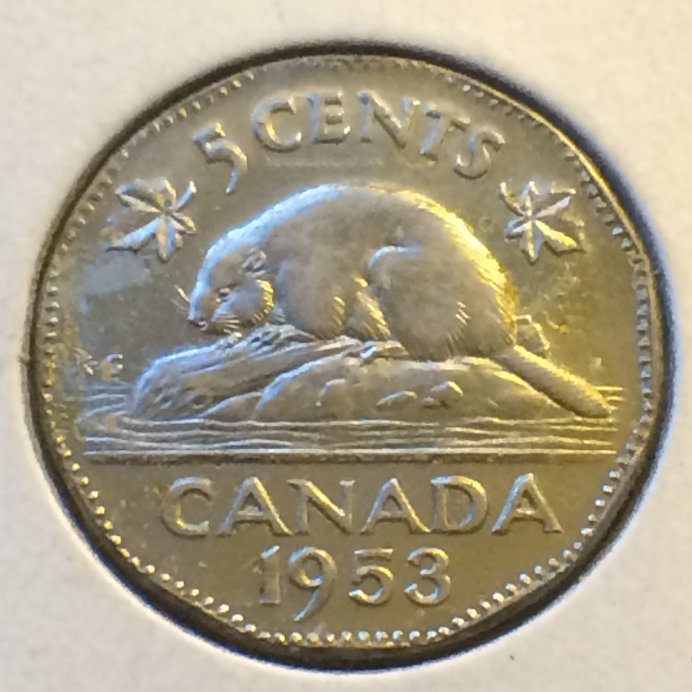 Canada 1953  Canadian 5 Cents - NSF FAR ( C5C ) - Reverse