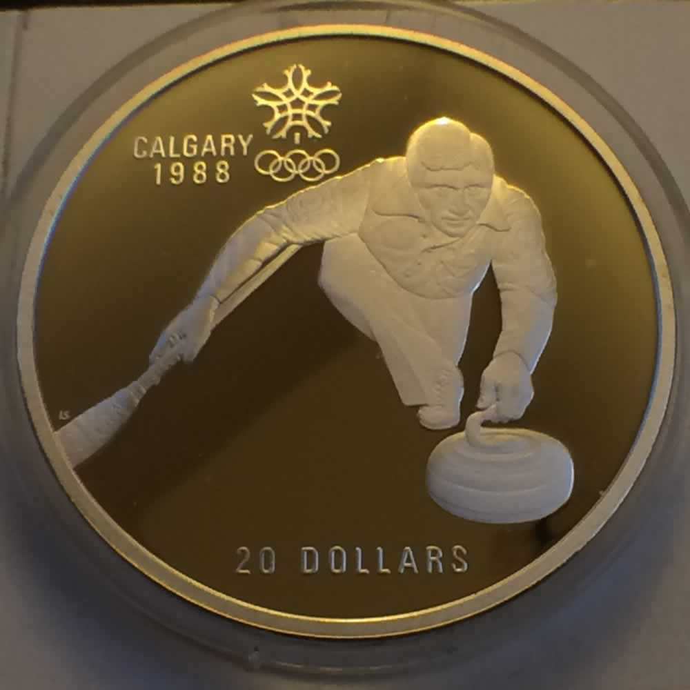 Canada 1987  XV Winter Olympic Games - Curling ( CS$20 ) - Reverse
