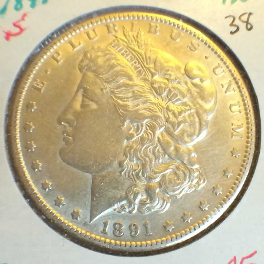 US 1891 S Morgan Silver Dollar ( S$1 ) - Obverse