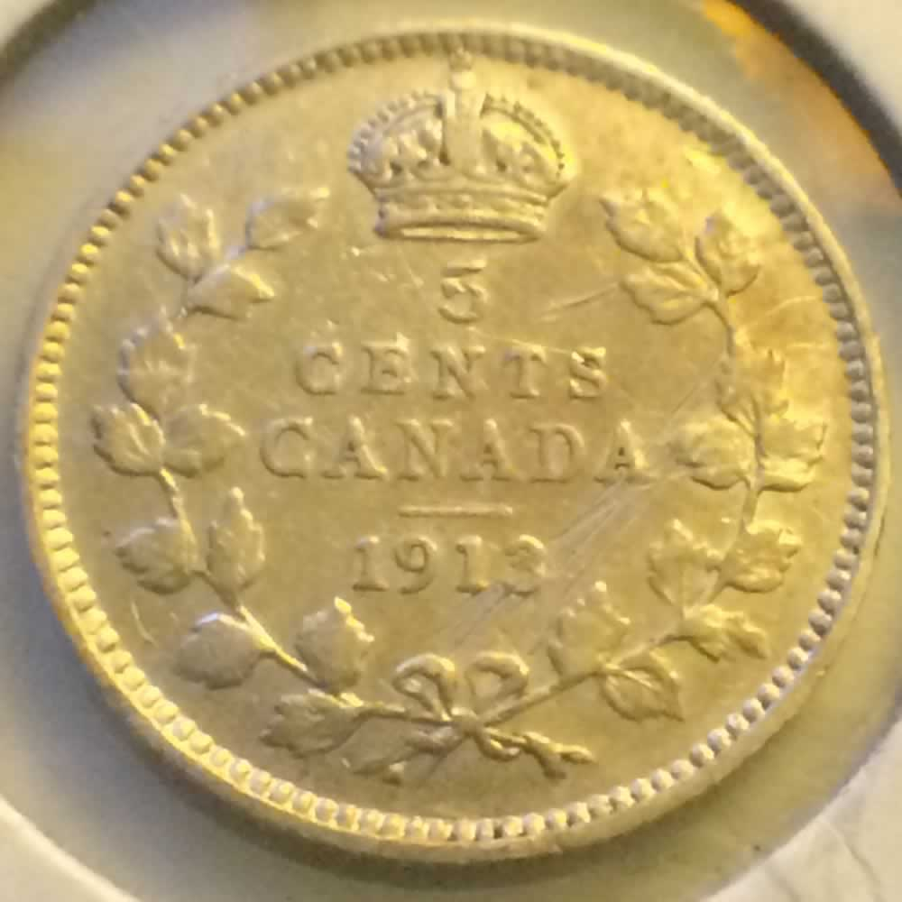 Canada 1913  George V Silver Nickel ( CS5C ) - Reverse