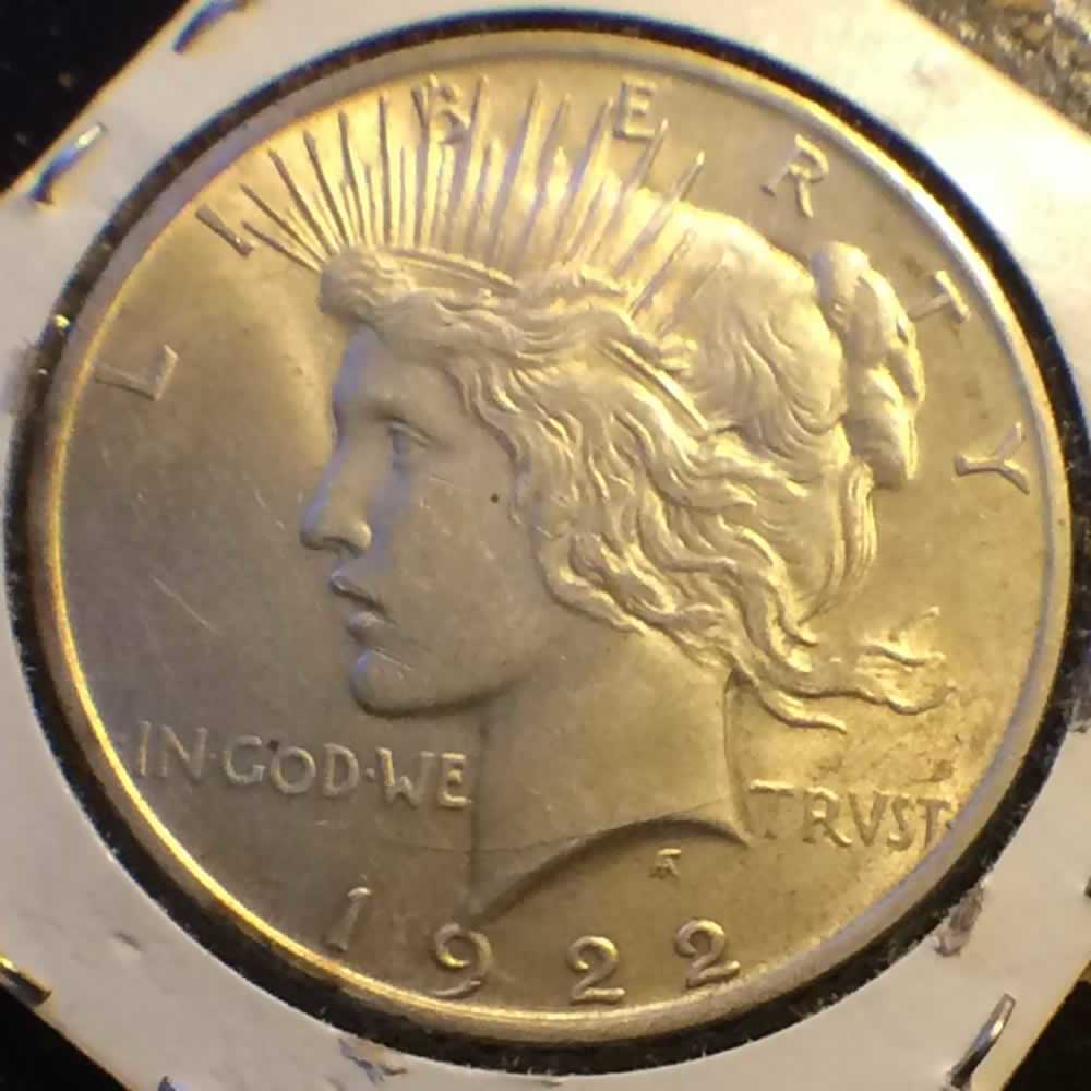 US 1922  Peace Dollar ( S$1 ) - Obverse