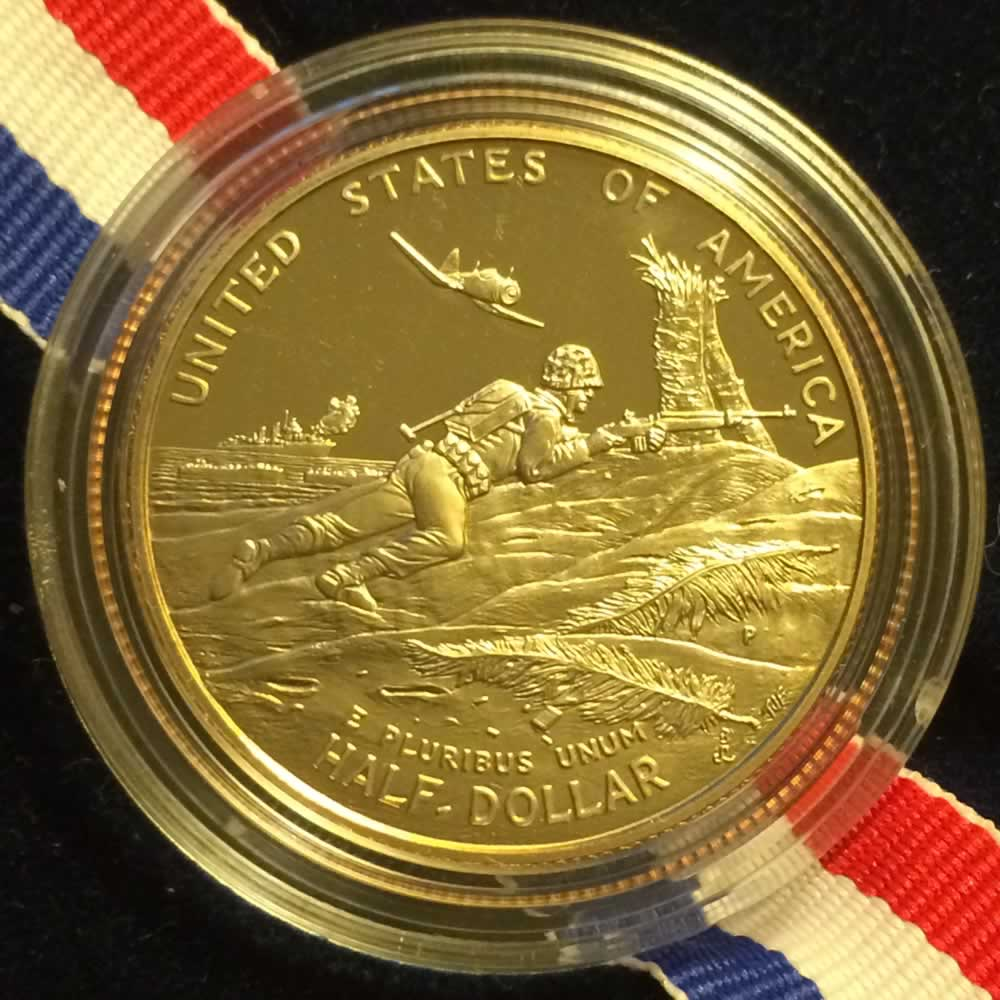 US 1993 P WWII 50th Anniv. Half Dollar Proof ( 50C ) - Reverse