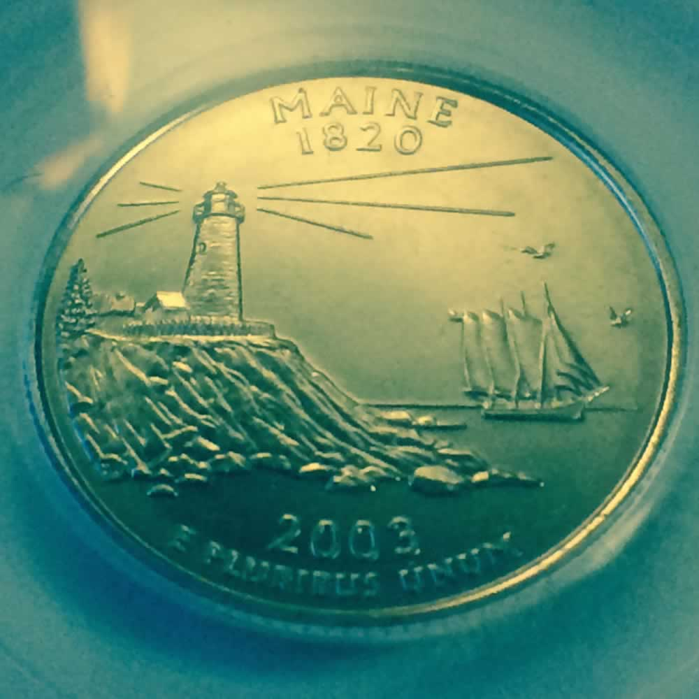 US 2003 P Maine Statehood Quarter ( 25C ) - Reverse