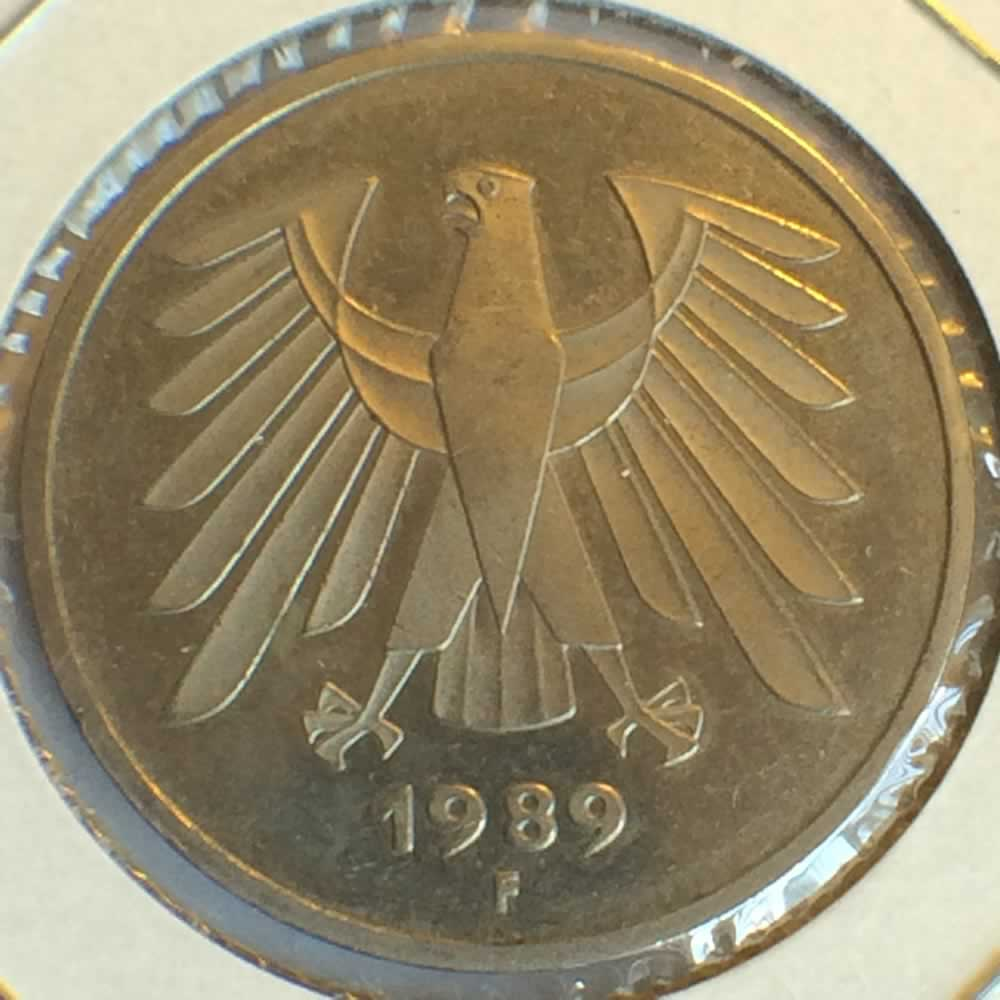 Germany 1989 F 5 Deutsche Mark ( DM 5 ) - Obverse