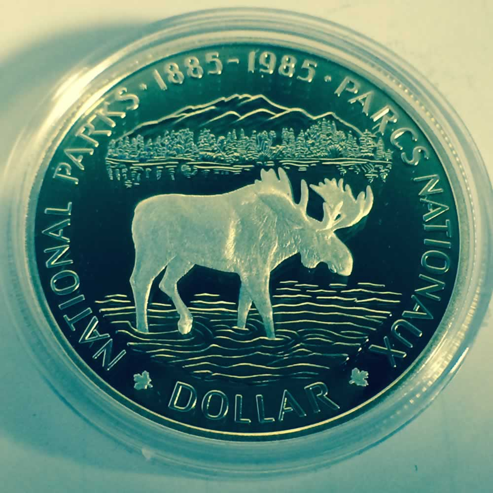 Canada 1985  Proof Silver Dollar National Park ( CS$1 ) - Reverse